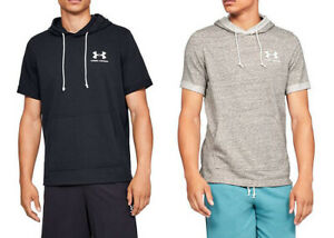 UNDER ARMOUR UA MEN'S SPORTSTYLE TERRY SHORT SLEEVE HOODIE BLACK GRAY NEW NWT $34.95