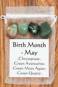 Birth Month May Crystal Gift Set Chrysoprase Green Quartz Aventurine Moss Agate