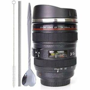 Coffee MugCamera Lens Cup With Sipping LidSuper Stainless Steel Travel Tea All