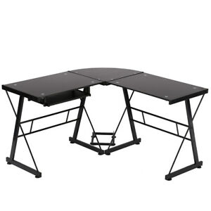 New L Shaped Desk Office Computer Glass Corner Desk With Keyboard Tray
