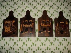 4 WOODEN DECORATED CUTTING BOARDS MADE BY *MNM* CANADA