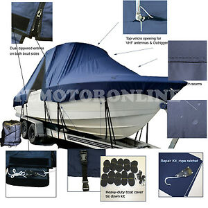 Bluewater Offshore 2850 CC Center Console Fishing T-Top Hard-Top Boat Cover Navy