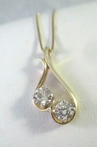 14K YELLOW GOLD .95 ctw TWO ROUND DIAMOND PENDANT NECKLACE
