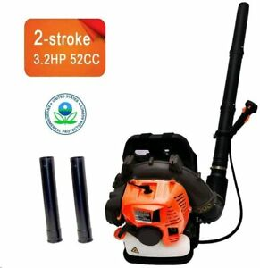 52CC  3.2HP 2Stroke Gas Backpack Leaf Blower Powered Debris w/Padded Harness EPA