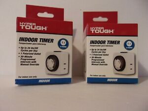 2 - Hyper Tough Indoor 2 Prong Timers Up to 24 On/Off Cycles Per Day - New