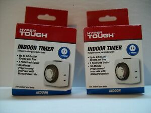 2 - Hyper Tough Indoor 2 Prong Timers Up to 24 On/Off Cycles. - Minor Box Damage