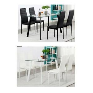 Glass Metal 5 Piece Dining Table Set 4 Chairs Kitchen Room Breakfast 2 Colors US