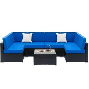 7PC Rattan Wicker Sofa Set Sectional Couch Outdoor Patio Furniture Cushions New