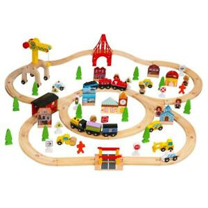 100Pcs Hand Crafted Wooden Train Set Crossing Railway Track Kids Children Toy US $37.99