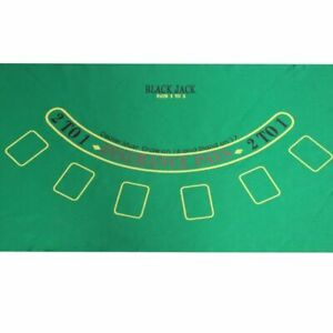 Blackjack 24quot;x 36quot; Layout Table Top Green Mat Portable Cover Felt Holdem Poker