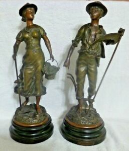 Vintage Ernest Rancoulet Metal Sculptures Laboureur and Sarcleuse $299.95