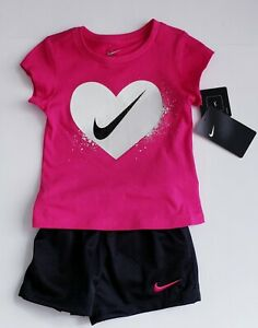 *NEW* GIRLS NIKE DRY FIT Shirt & Shorts 2 Piece SET OUTFIT Size 4 $21.99