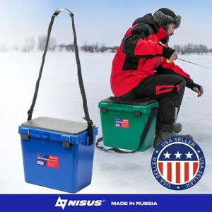 NISUS 19L Large Plastic Ice Fishing Seat Tackle Box Saltwater Freshwater Winter