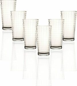 Crystal Set of 6 15.75 oz Iced Beverage Glasses  Heavy Base Tumbler Cooler Gifts