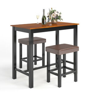 3 Piece Pub Table Set Counter Height Kitchen Dinner Bar Dining Home w/Stools