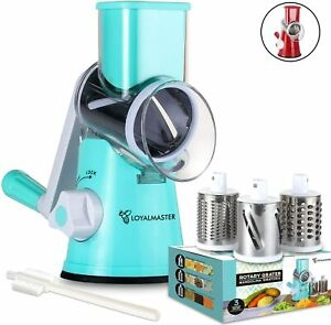 LOYALMASTER Rotary Cheese Grater - Manual Mandoline Slicer Grinder - Round Drum