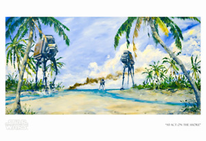 Star Wars Rouge One AT-ACT On Shore Kim Gromoll Poster Giclee Print Art 19x13 $249.99