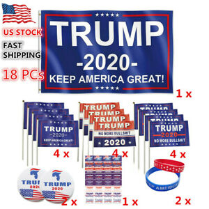 18x Trump 2020 Set President Donald Handheld Flag Face Sticker Wristband Badge