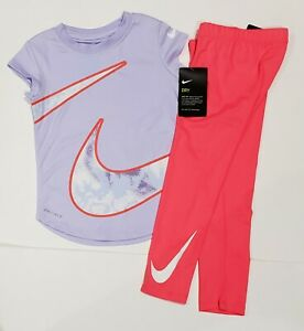 NIKE GIRLS Size 4T DRY FIT Shirt & Shorts 2 Piece SET Lavender & Racer Pink: NWT $25.99