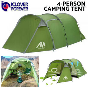 Waterproof Camping Tent 3 4 Person Dome Family Tunnel Tent Double Layer Canopy