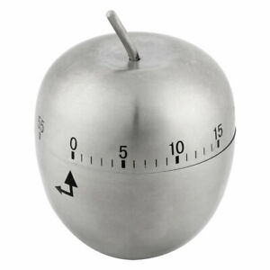 Kitchen Cooking Stainless Steel Apple Shaped Mechanical Alarm Timer 60 Minutes