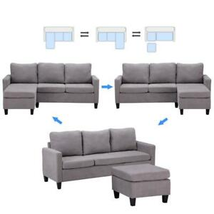 New Convertible Sectional Sofa Couch L Shaped Couch w Back Cushion Light Gray