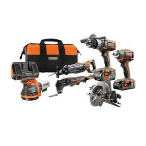 RIDGID Cordless Tool Combo Kit 18V Lithium-Ion Battery Charger Bag (6-Piece)