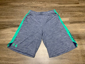 UNDER ARMOUR Shorts Youth XL Loose Heat Gear Blue and Green $17.50