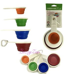 Farberware Set of 4 Collapsible Measuring Cups, Assorted color Cups, Silicone