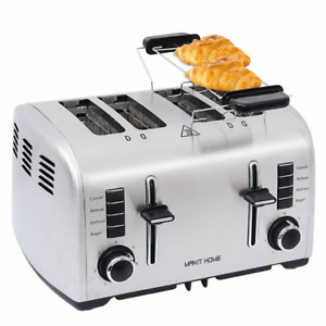 Compact Toaster Stainless Steel Extra Wide Slot Bread with Manual Lift Lever