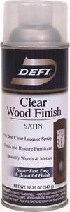 NEW DEFT 017-13 12 OZ SPRAY SATIN LACQUER CLEAR WOOD FINISH SEALER 7976293