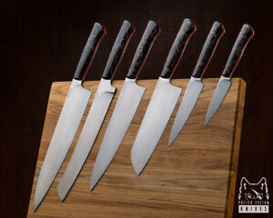 SET OF KITCHEN CUSTOM KNIVES WITH CUTTING BOARD M390 RAFFIR ALUME