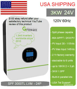 Ships Mid June 24V 3kW Growatt SPF LVM 120V240V solar Inverter Split Phase optn