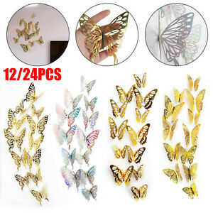 24/12 PCS Butterfly 3D Wall Stickers Art Decals Home Room Decorations DIY Decor