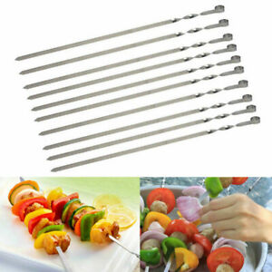 10pcs BBQ Barbecue Stainless Steel Grilling Kabob Kebab Flat Needle Skewers  NEW