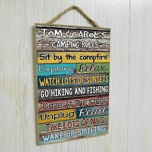 Personalized Camping Rules Sign 10.5x7 CUSTOM Camper Plaque RV Wall Decor