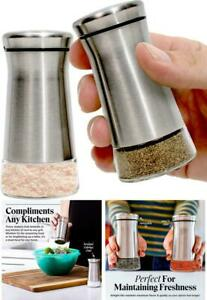 Salt Pepper Shakers With Adjustable Pour Holes Elegant Stainless Steel Spices
