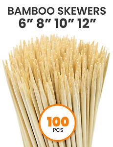 Allcana Natural Bamboo Skewers for BBQ, Fruit, Appetizer, 6