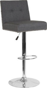 Flash Furniture Chrome And Metal Bar Stool In Dark Gray DS 8411 DGY F GG