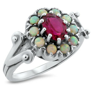 LAB RUBY amp; OPAL ANTIQUE VICTORIAN STYLE 925 STERLING SILVER RING SIZE 9 #205 $35.77