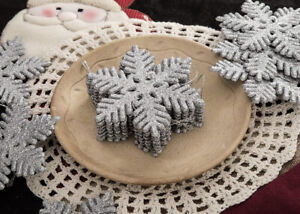 Glitter Snowflake Ornaments Set of 36 pieces holiday christmas tree