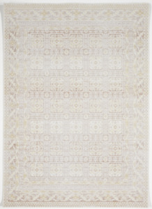 Transitional Machine Made White Ivory Brown Manmade Rug 5#x27; x 8#x27;