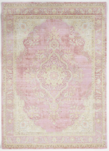 Transitional Machine Made White Pink Multicolor Manmade Rug 5#x27; x 8#x27;