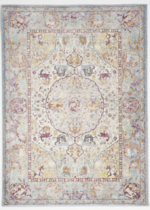 Transitional Machine Made White Blue Rug 5#x27; x 8#x27;