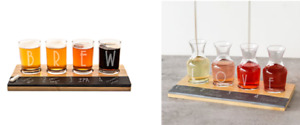 Personalized Bamboo & Slate Craft Beer or Wine Tasting Flight