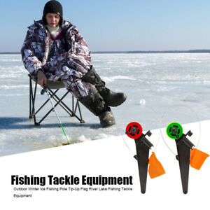 2pcs Winter Ice Fishing Rod Tip-Up Flag Outdoor River Fishing Tackle Equipment