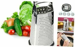 Spring Chef Box Grater, 4-Sided Stainless Steel Large 10-inch Grater for Large