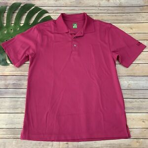 2 Under Mens Polo Shirt Size M Bright Pink Short Sleeve Golf Activewear Solid $13.99