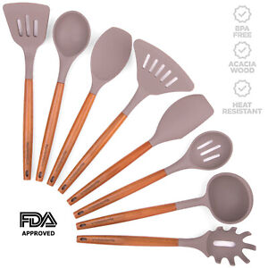Silicone Kitchen Utensil Set Acacia Wood Handles Heat Resistant FDA Approved