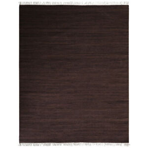 Hand Woven Flat Weave Kilim Wool3'x5'Area Rug Solid Dark Brown BBH Home BBD00111
